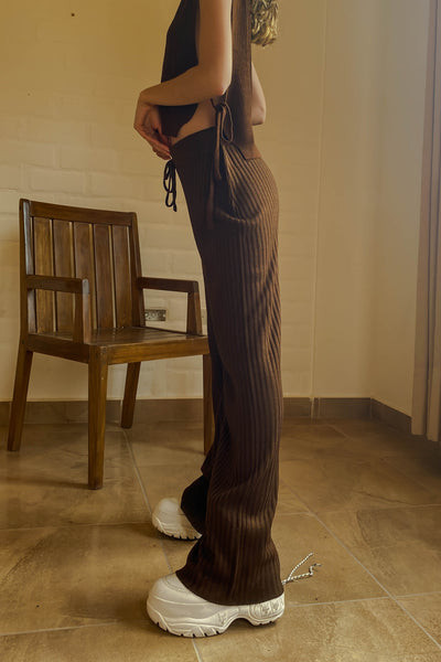 Twiin knit pants - Marron