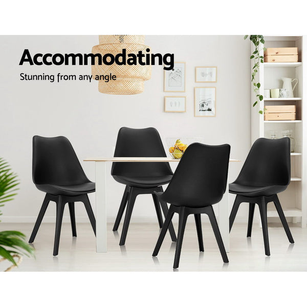 Replica Eames DSW Side Chair Set of 4 Padded Dining Chair - Black