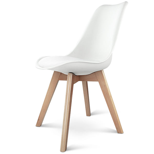 Replica Eames DSW Side Chair Set of 2 Padded Seat - White