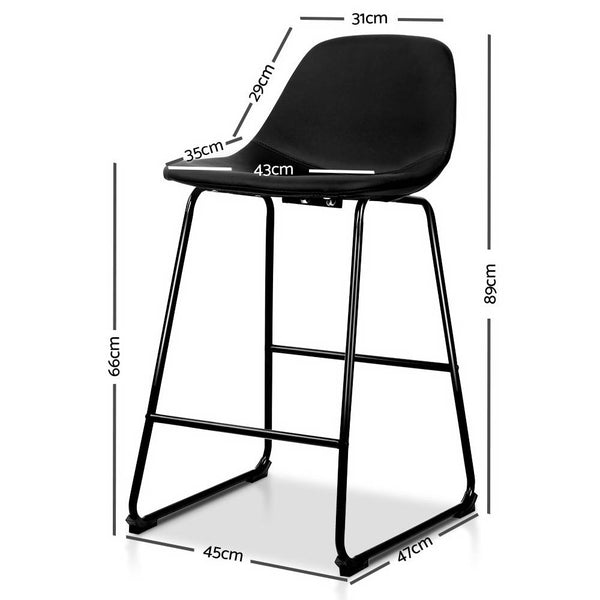 Superior Seating Set of 2 PU Leather Crosby Bar Stools - Black