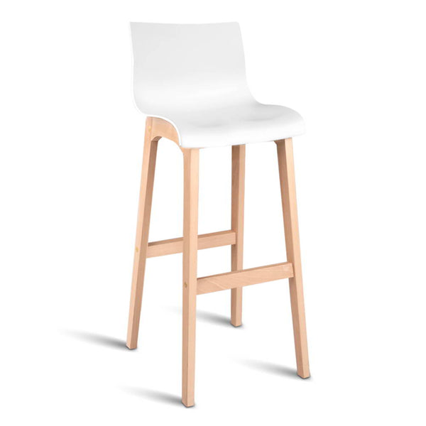 Superior Seating Set of 2 Beech Wood Bar Stools - White
