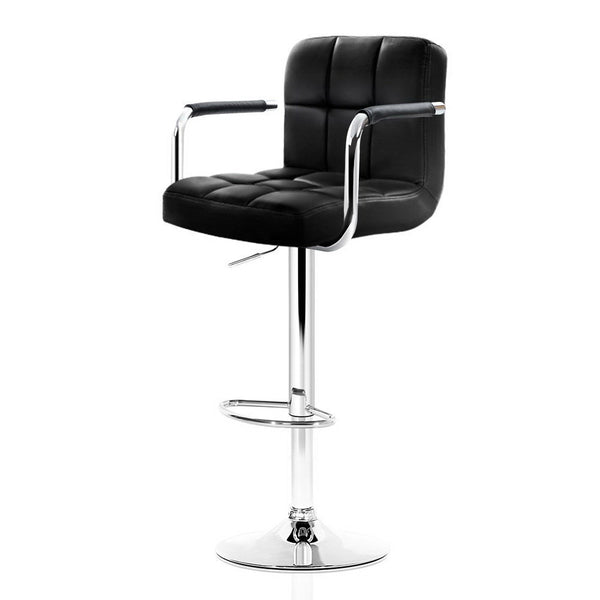 Superior Seating 2x Bar Stools Gas lift Swivel Chairs Kitchen Armrest Leather Chrome Black