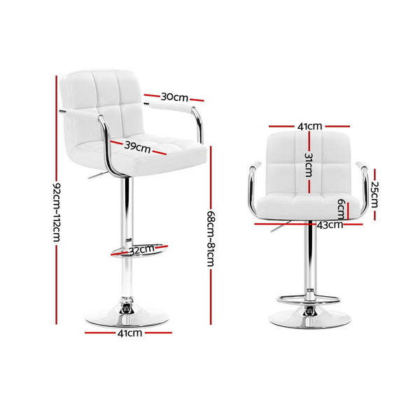 Superior Seating 2x Bar Stools Gas lift Swivel Chairs Kitchen Armrest Leather Chrome White