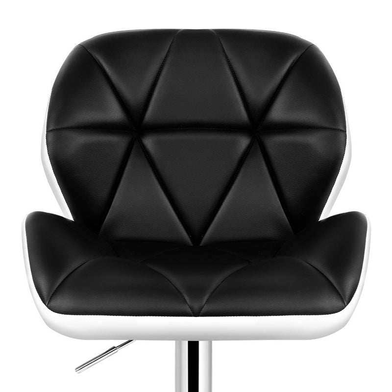Superior Seating 2x Kitchen Bar Stools Swivel Bar Stool Chairs Leather Gas Lift Black