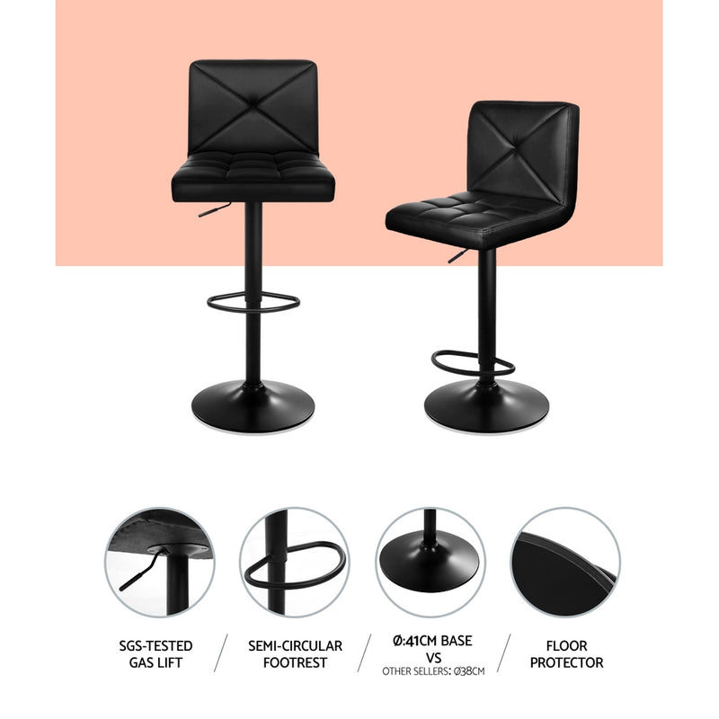 Superior Seating Set of 2 PU Leather Gas Lift Bar Stools - Black