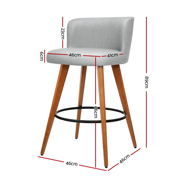 Superior Seating 2x Wooden Bar Stools Modern Bar Stool Kitchen Fabric Light Grey