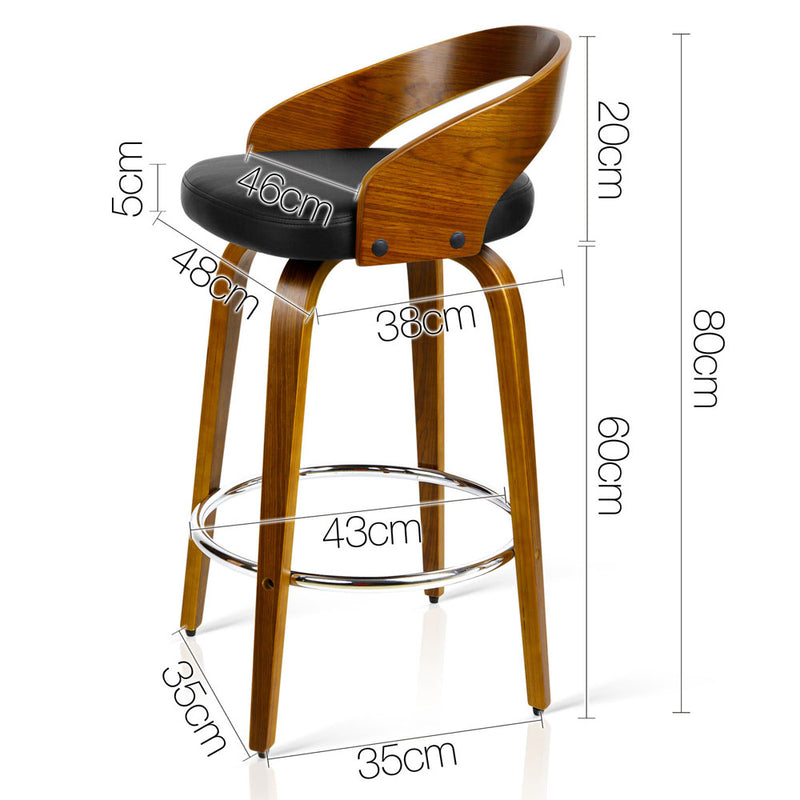 Artiss Set of 2 Wooden Bar Stools - Black | Superior Seating | Premium Office Chairs, Lounge Chairs, Dining Chairs, Gaming Chairs, Bar Stools and Massage Chairs
