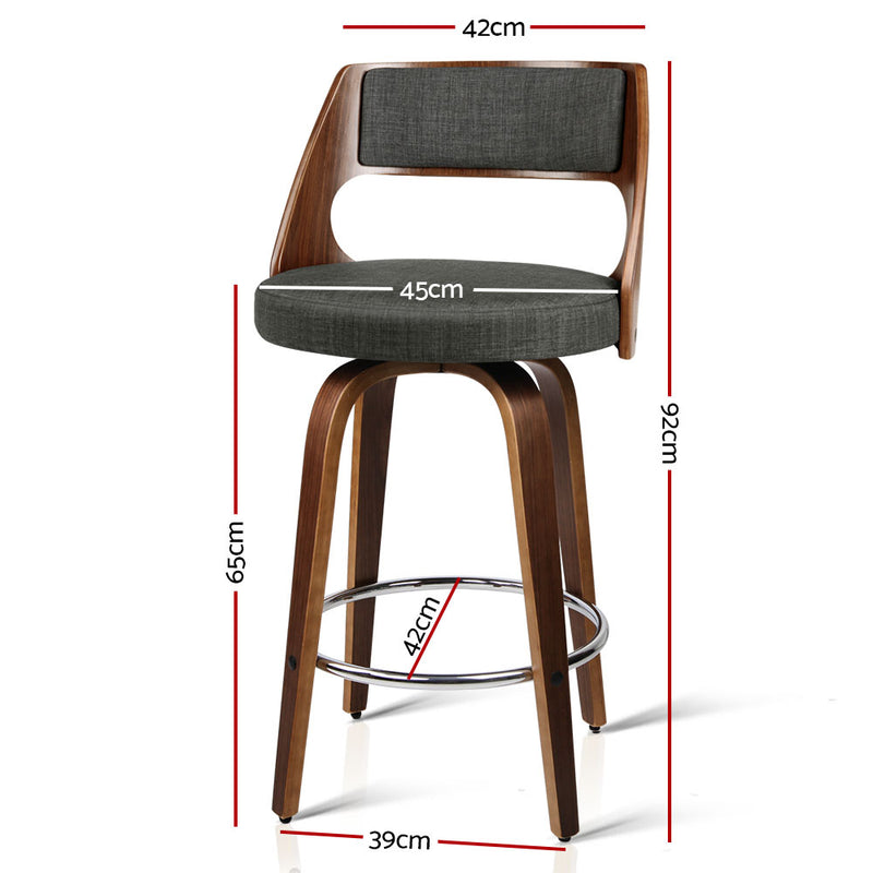 Artiss Set of 2 Wooden Swivel Bar Stools Kitchen Counter Barstool Charcoal Fabric