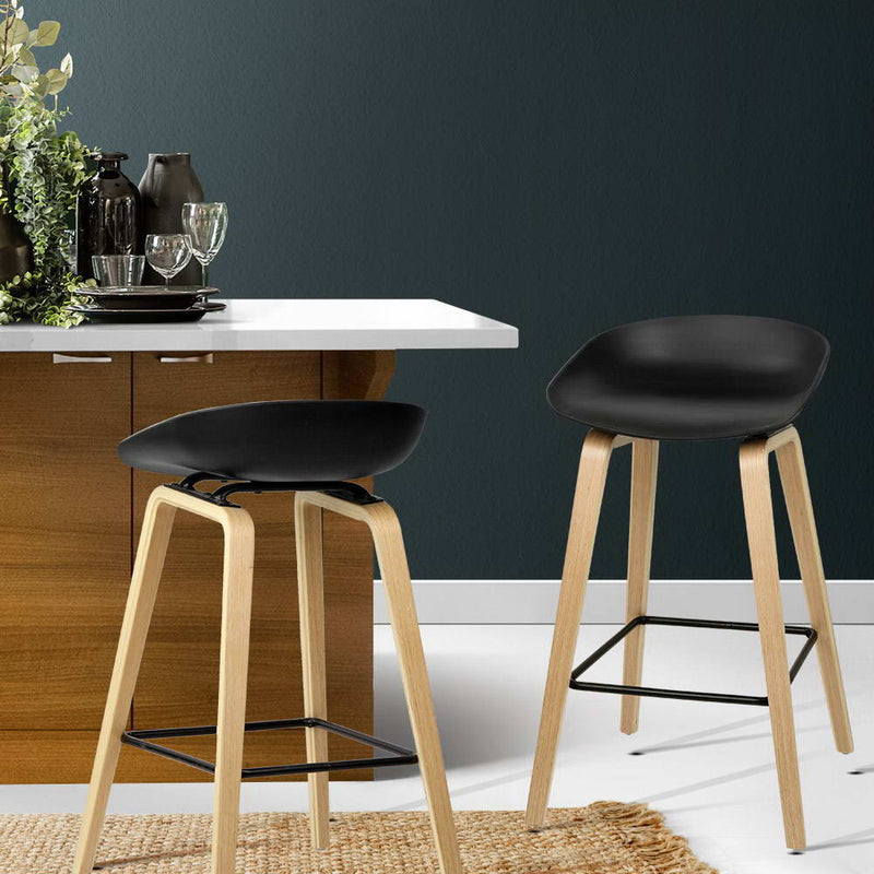 Superior Seating Set of 2 Wooden Backless Bar Stools - Black
