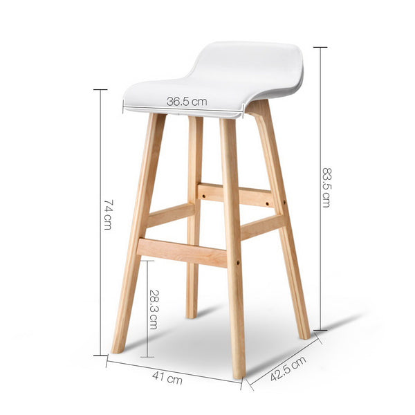 Superior Seating Set of 2 PU Leather and Wood Bar Stool - White