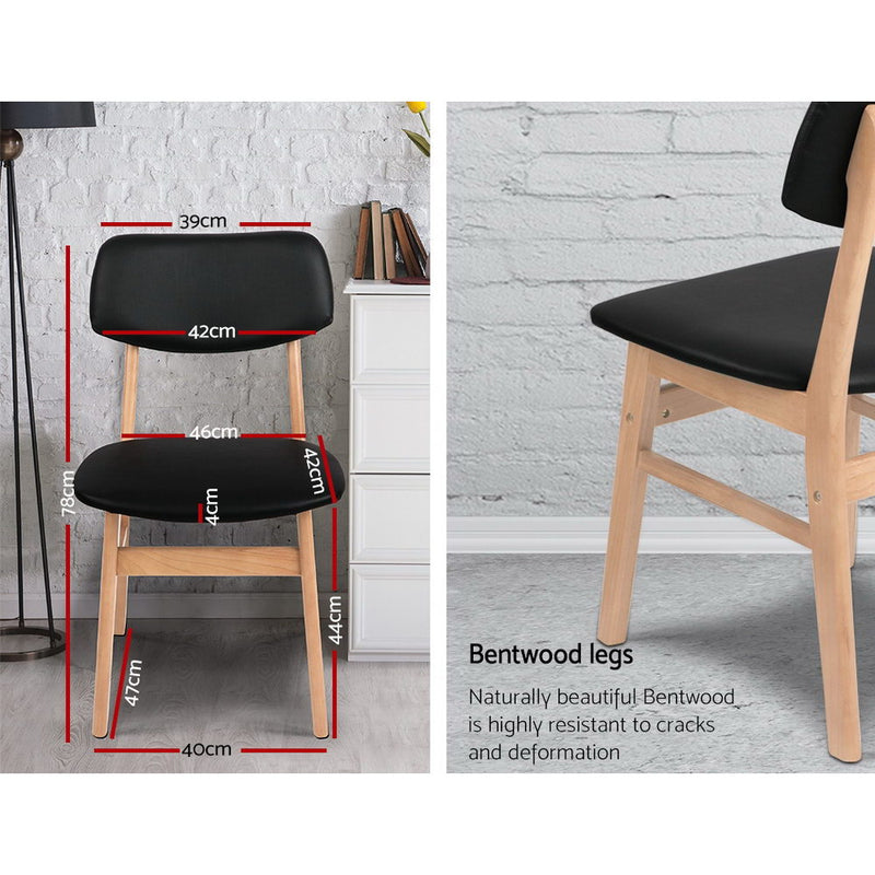 Superior Seating Set of 2 Wood & PVC Dining Chairs - Black