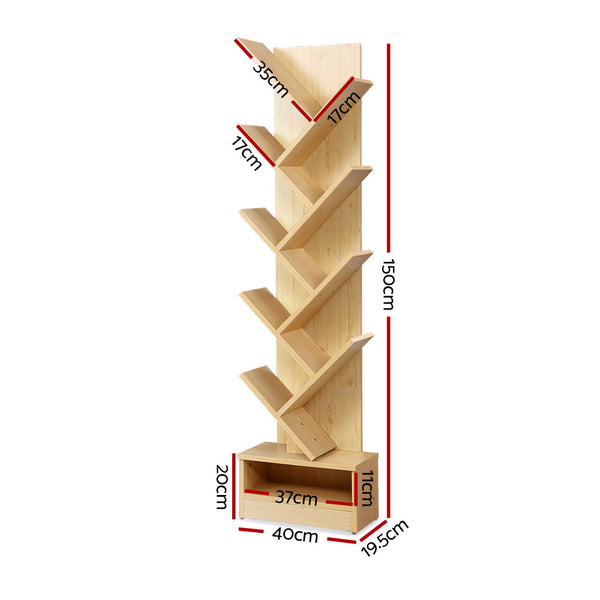 Superior Seating Display Shelf 9-Shelf Tree Bookshelf Book Storage Rack Bookcase Natural