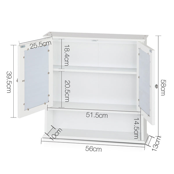 Superior Seating Bathroom Tallboy Storage Cabinet with Mirror - White