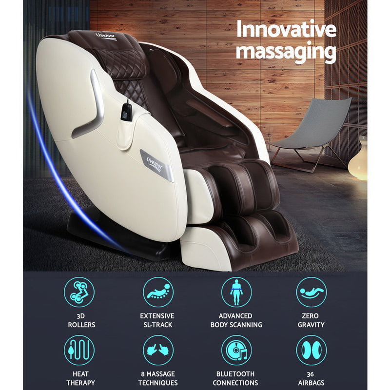 Livemor 3D Electric Massage Chair Full Body Air Bags - Cream Brown