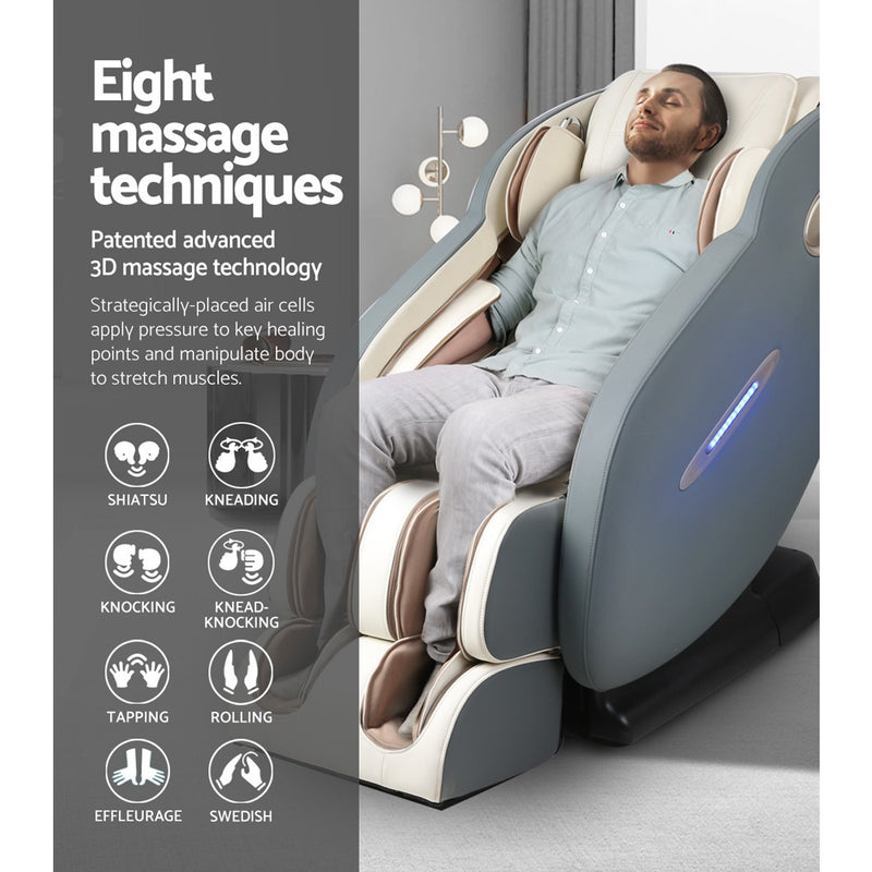 Livemor 3D Electric Massage Chair Full Body Zero Gravity - Navy Cream | Superior Seating | Premium Office Chairs, Lounge Chairs, Dining Chairs, Gaming Chairs, Bar Stools and Massage Chairs