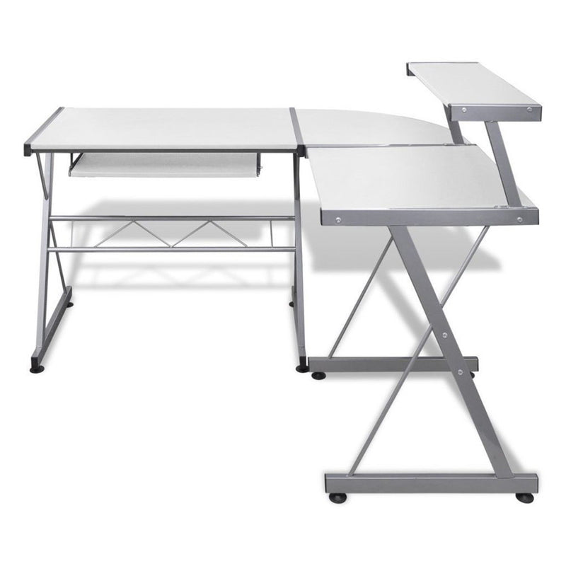 Superior Seating Corner Metal Pull Out Table Desk - White