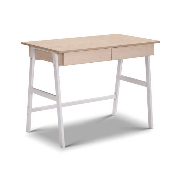 Superior Seating Metal Desk with Drawer - White with Oak Top