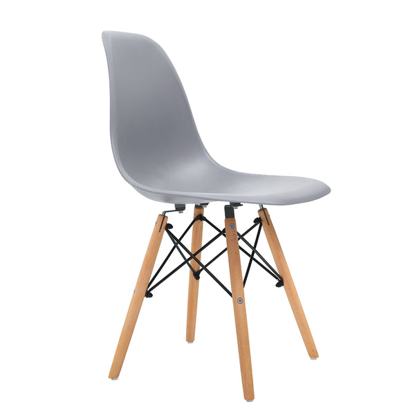 Superior Seating 4x Retro Replica Eames Dining DSW Chairs Kitchen Cafe Beech Wood Legs Grey