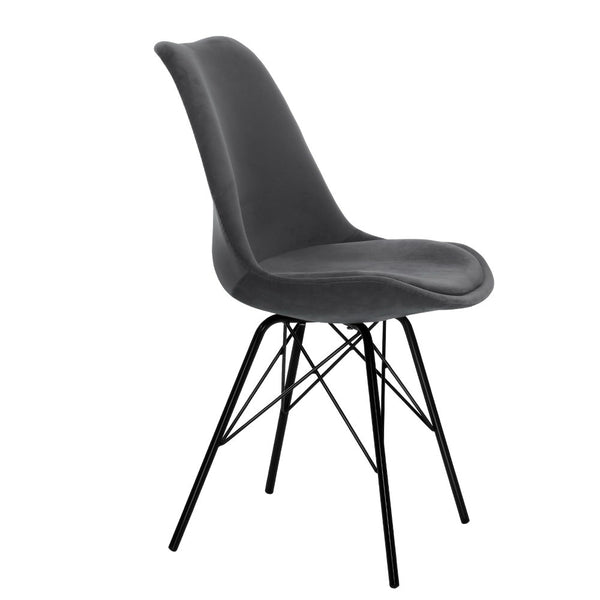 2x Superior Seating Dining Chairs Eames Chair DSW Cafe Kitchen Velvet Fabric Padded Iron Legs Grey