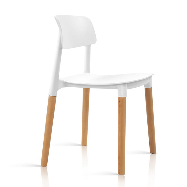 Superior Seating 4x Belloch Replica Dining Chairs Kichen Cafe Stackle Beech Wood Legs White