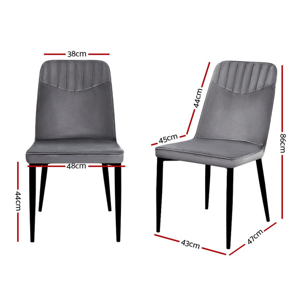 Superior Seating 2x Dining Chairs Retro Chair Replica New metal Legs High Back Velvet Grey