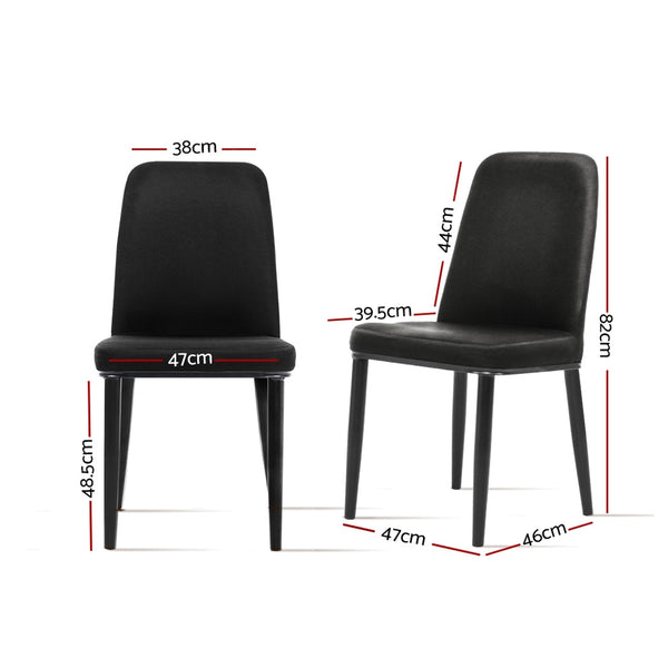 Superior Seating Dining Chairs Replica Kitchen Chair Black Fabric Padded Retro Iron Leg x2