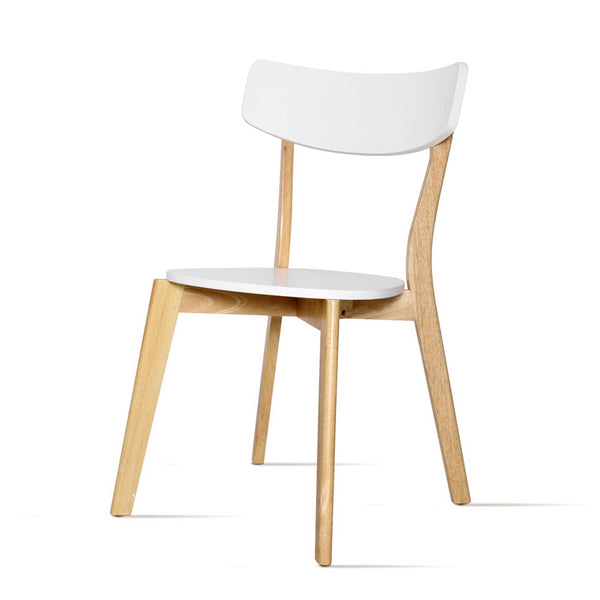 2x Superior Seating Dining Chairs Kitchen Chair Rubber Wood Cafe Retro White Wooden Seat