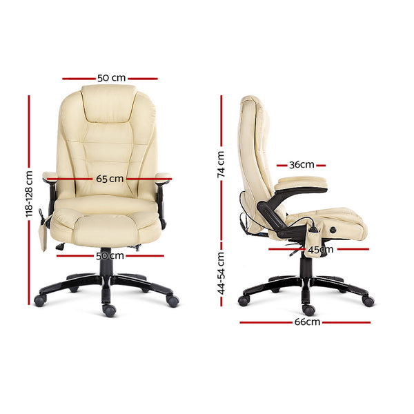8 Point PU Leather Reclining Massage Chair - Beige