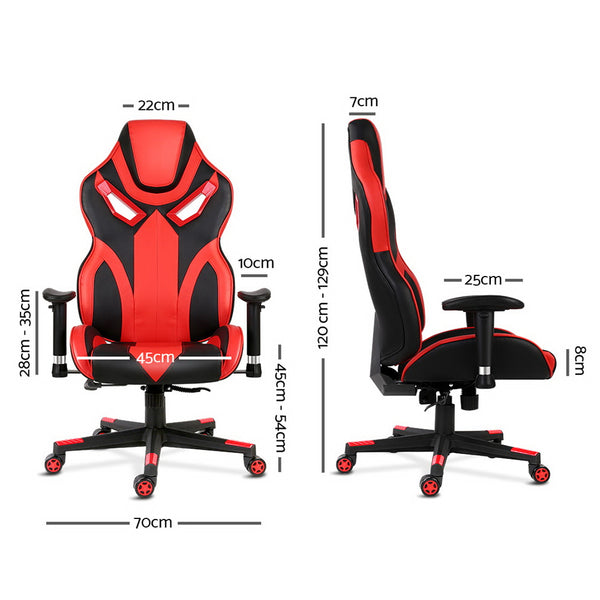 Superior Seating PU Leather Gaming Style Desk Chair - Black and Red