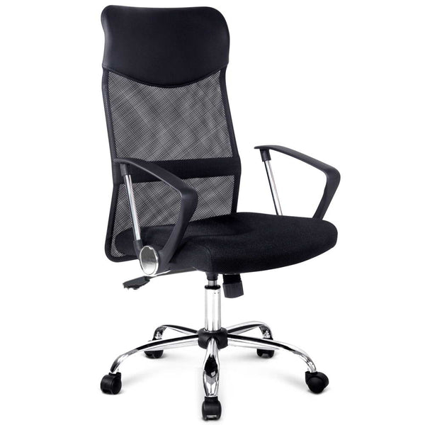 PU Leather Mesh High Back Office Chair - Black