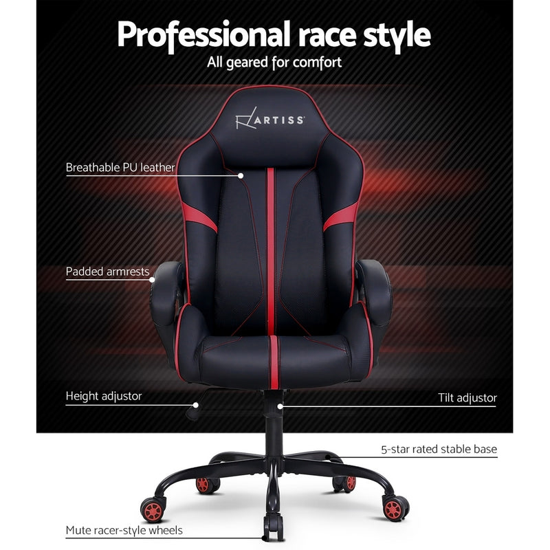 Superior Seating Gaming Office Chair Computer Chairs Leather Seat Racer Racing Meeting Chair Balck Red