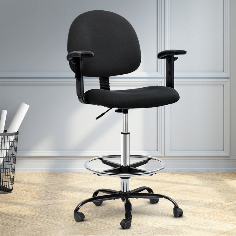 Superior Seating Office Chair Veer Drafting Stool Fabric Chairs Adjustable Armrest Black