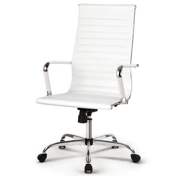 Superior Seating Eames Replica Office Chairs PU Leather Executive Work Computer Seat White