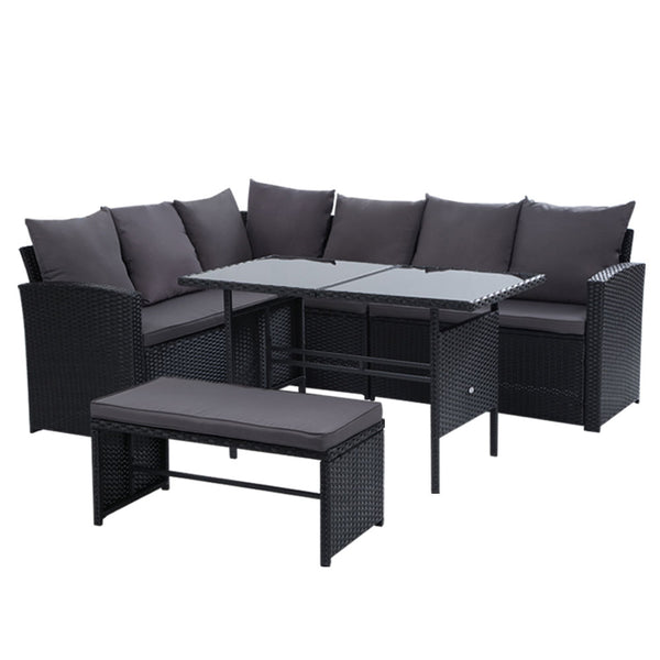 Gardeon Outdoor Furniture Sofa Set Dining Setting Wicker 8 Seater Black