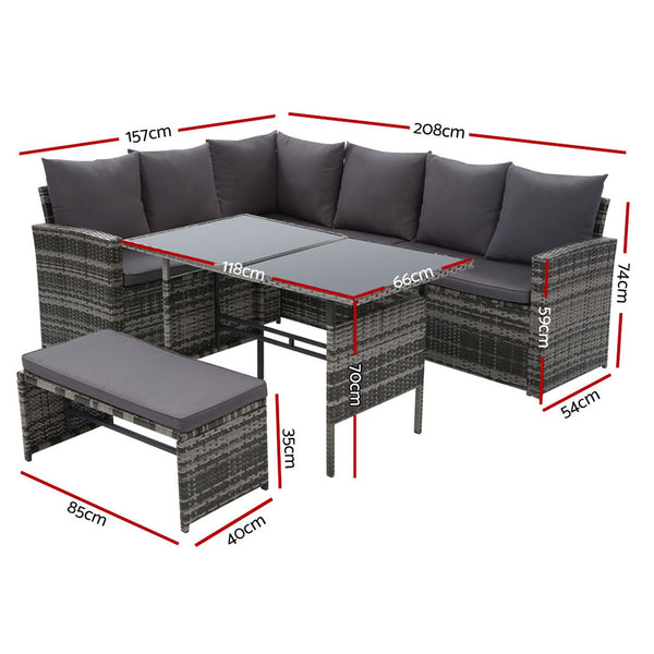 Gardeon Outdoor Furniture Sofa Set Dining Setting Wicker 8 Seater Mixed Grey
