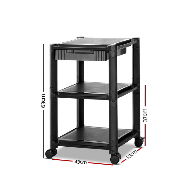 Superior Seating Mobile Printer Stand Shelf Rolling Cart Adjustable