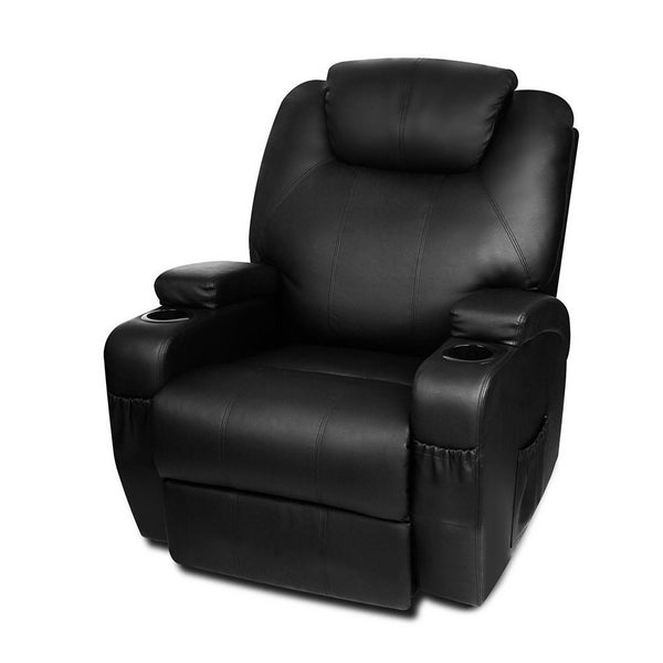 Artiss PU Leather Massage Armchair - Black | Superior Seating | Premium Office Chairs, Lounge Chairs, Dining Chairs, Gaming Chairs, Bar Stools and Massage Chairs