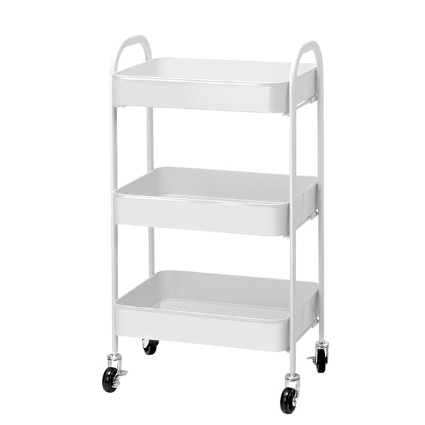 Superior Seating 3 Tier Kitchen Storage Cart Portable Rolling Rack Shelf Office Utility WH