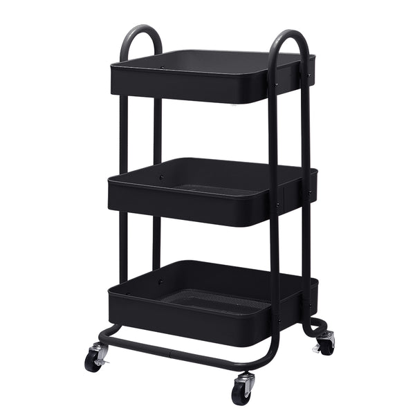Superior Seating 3 Tier Kitchen Trolley Storage Cart Portable Rolling Rack Shelf Wheels
