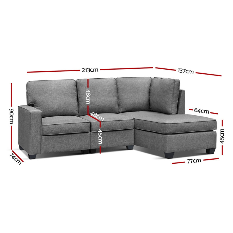 Superior Seating Sofa Lounge Set 4 Seater Modular Chaise Chair Suite Couch Fabric Grey