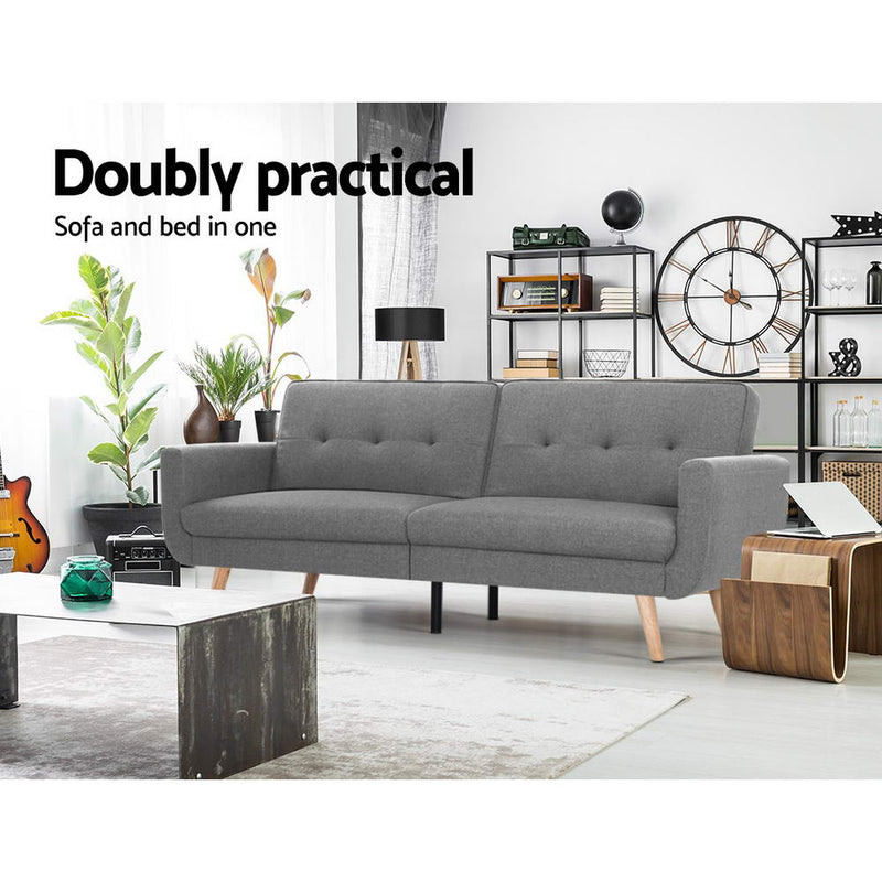 Superior Seating Sofa Bed Lounge Set Couch Futon 3 Seater Fabric Reliner 197cm Grey