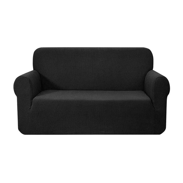 Superior Seating High Stretch Sofa Cover Couch Protector Slipcovers 2 Seater Black