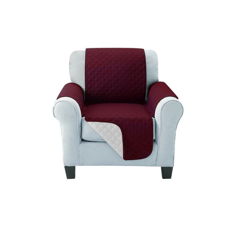 Superior Seating Sofa Cover Quilted Couch Covers Protector Slipcovers 1 Seater Burgundy