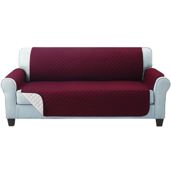 Superior Seating Sofa Cover Quilted Couch Covers Protector Slipcovers 3 Seater Burgundy