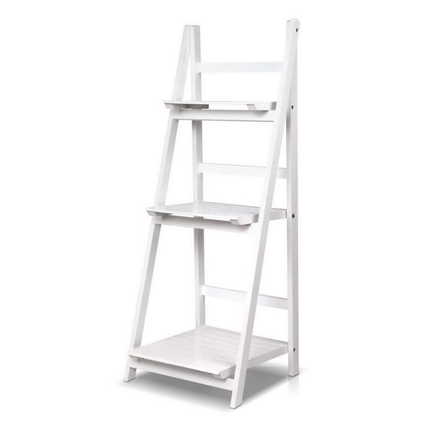 Superior Seating Display Shelf 3 Tier Wooden Ladder Stand Storage Book Shelves Rack White