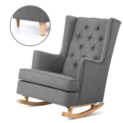 Superior Seating Rocking Armchair Feeding Chair Linen Fabric Armchairs Lounge Retro Grey
