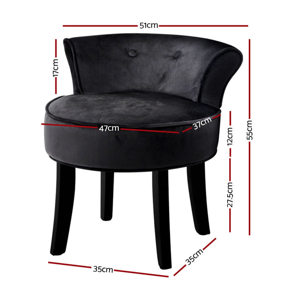 Superior Seating Velvet Vanity Stool Backrest Stools Dressing Table Chair Makeup Bedroom Black