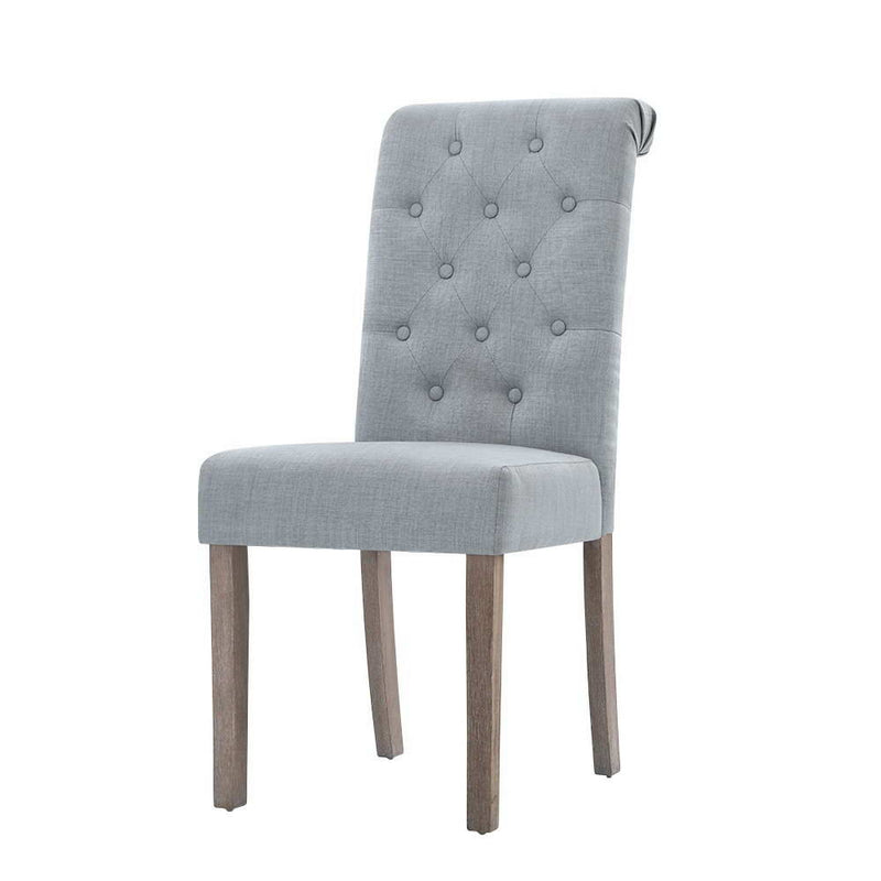 Superior Seating 2x Dining Chairs French Provincial Kitchen Cafe Fabric Padded High Back Pine Wood Light Grey