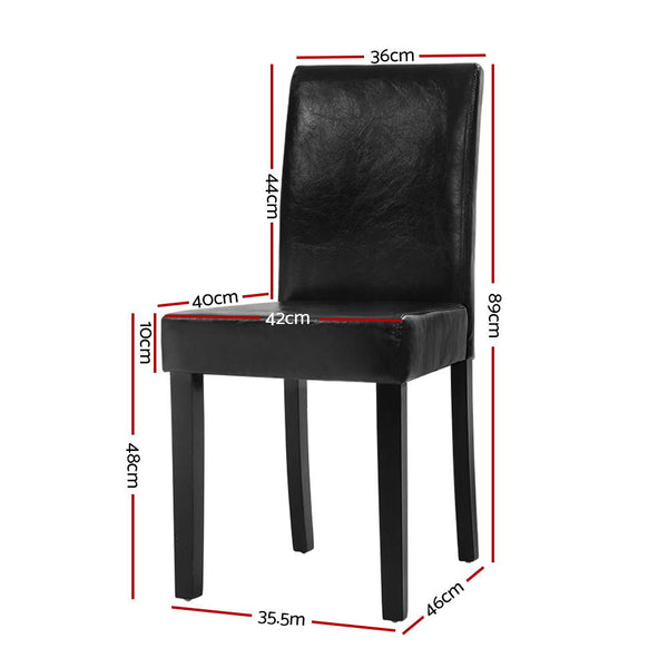 Superior Seating 2x Dining Chairs PU Leather Padded High Back Wood Cafe Kitchen Black