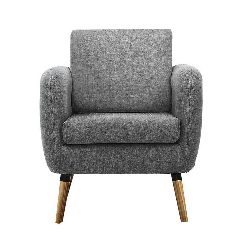 Superior Seating Lounge Chair Armchair with Ottoman Tub Accent Sofa Linen Fabric Grey